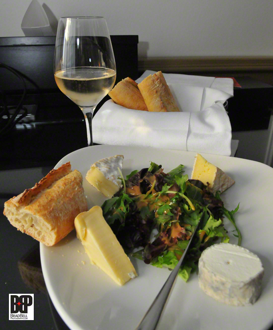 The manager of the Marriott Champs-Elysees sent us a cheese plate with a bottle of white wine for our anniversary.
