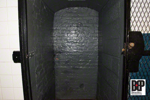 This alcove in the basement is actually the hidden 2,000 pound door to the wine cellar.